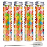JPSOR 15pcs 110ml Clear Flat Plastic Test Tubes 140 x 35 mm with Screw Caps and 1 Brush