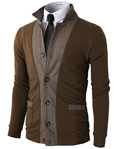 H2H Mens Two-Tone Fine Fabric Herringbone Jackets Cardigans Brown US L/Asia XL (JLSK03)