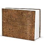 Logbuch-Verlag Taccuino formato A4, formato A4, orizzontale, vintage, vuoto, con foglie bianche, con globo del mondo, Globus Terra, 148, antico, diario di viaggio, diario di viaggio