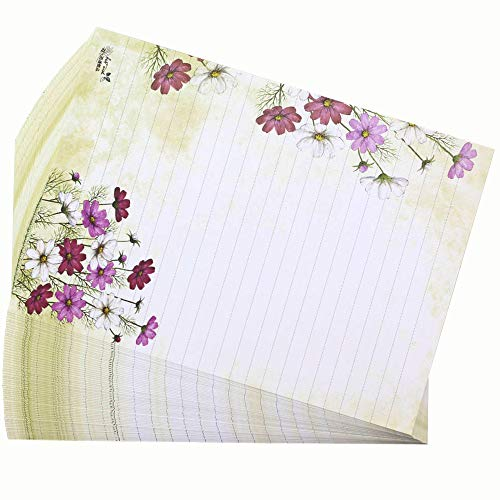 Bolbove 64 Pcs Lovely Flower Cute Plant Elegant Letter Writing Stationery White Paper Lined Sheets (Cosmos Bipinnatus)