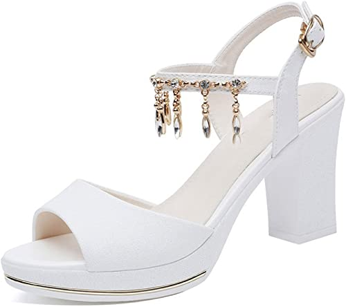 Sandalias De Las mujeres Tacones Altos De Moda Diamantes De Imitación Hebilla Salvaje Vestido