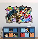Kids Game Wall Decals Mario Kart Wall Art Decal 3D Smashed Custom Kids Room Wall Decor Boys Bedroom Bros Poster Super Mural Wallpaper Removable Vinyl Wall Stickers Gift (24'W x 16'H)