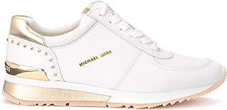 Michael Kors Woman's Sneaker Allie in Pelle Bianca Con Dettagli Oro