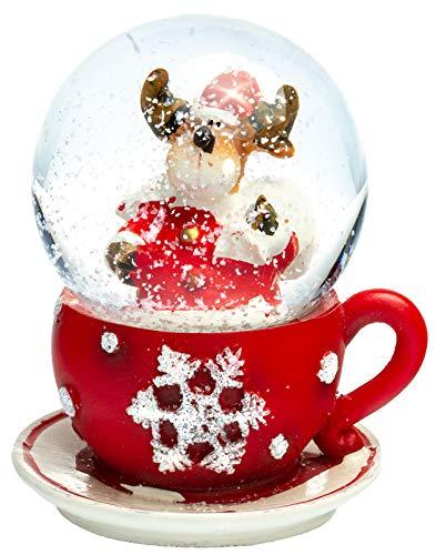 SIKORA SK02 Kleine Glas Schneekugel für Kinder Elch in der Tasse D:45mm, Schneekugeln:Elch in der Tasse