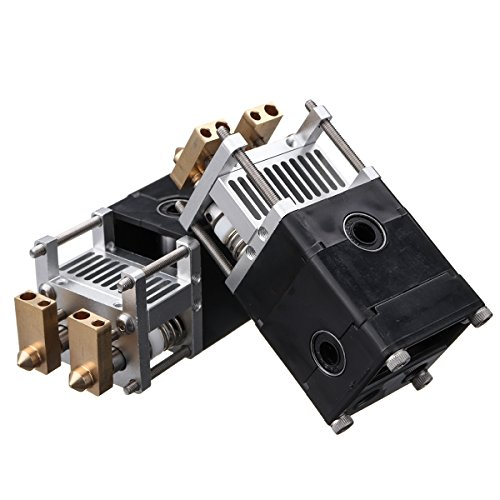 MASUNN 3D Printer Deel Ultimaker Um2 Aluminium Dual Heads Extruder Kit Voor 0.4Mm 1.75/3Mm mondstuk