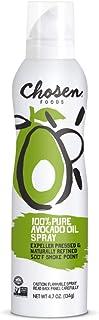 Chosen Foods 100% Pure Avocado Oil Spray 4.7 oz. (2 Pack), Non-GMO, 500°F Smoke Point, Propellant-Free, Air Pressure Only ...