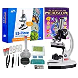 AmScope 1200X 52-pcs Kids Student Beginner Microscope Kit with Slides,...