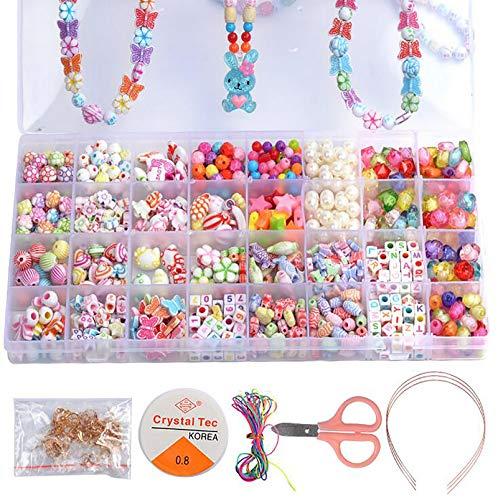 Bambini Perline, Sweau 32 Tipi Perline Fai da Te per Bambini Perline Colorate dei Bambini Fare Gioielli Braccialetti Necklace Kit Perline Lettere Set di Perline Fai da Te Kit per Braccialetti Bambina