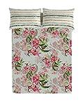 Victorio & Lucchino Hybrida Juego de sábanas para Cama de 135 cm, Verde/Rosa