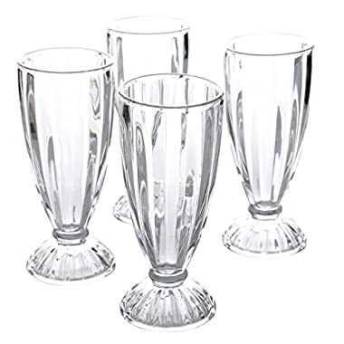General Store 82887.04RM Embossed Glass 12 oz Milk Shake Glass (4 Pack), Clear