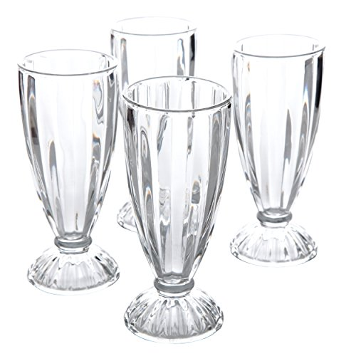 General Store by Gibson General Store 4 Pack 12 oz Milk Shake, Clear Embossed Glass