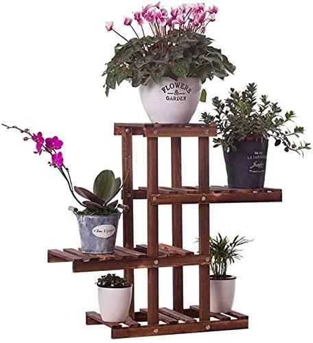 Puesto de flores 4 niveles de flores enrojeción de carbonize de madera de madera Pantalla de plantas de plantas for macetas for macetas Pequeño jardín Estante de almacenamiento pequeño for sala de est