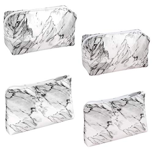 Marble Makeup Bag,Xiuyer 4pcs Waterproof Marble Cosmetic Bag PU Leather Lightweight Portable Organizers Toiletry Bag for Women Girls