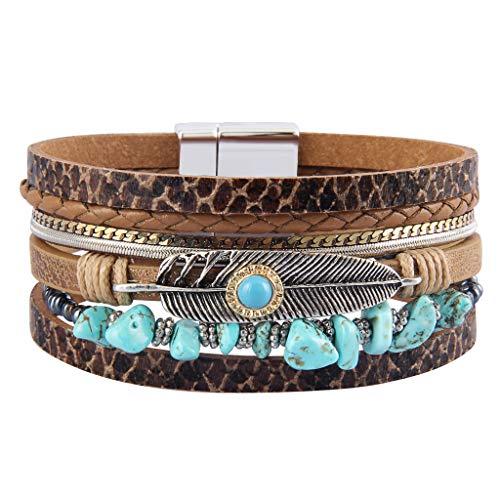 GelConnie Turquoise Wrap Bracelet Feather Cuff Bracelet Bohemian Woven Bracelet for Women Gift LPB306-Brown