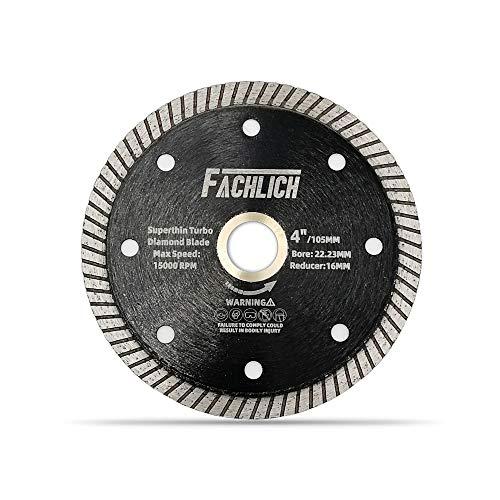 FACHLICH Disco de corte de diamante súper fino, diámetro de 105 mm de corte en seco duro de mampostería de cerámica granito, diámetro 22.23mm-16mm