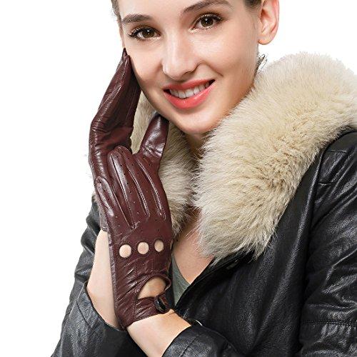 Nappaglo Damen Lederhandschuhe für fahren Touchscreen klassische Lammfell Vollfinger Motorrad Ungefüttert Handschuhe (S (Umfang der Handfläche:16.5-17.8cm), Dunkelbraun(Non-Touchscreen))