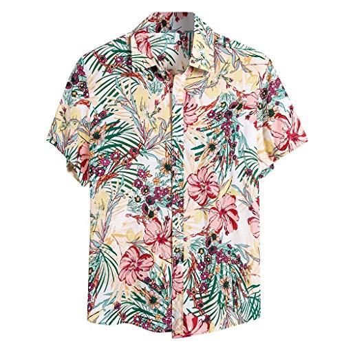Fenverk Urlaub Strand Hawaiihemd Shirt Freizeithemd Kurzarm Mit Modischem Druck,Hemd Freizeit Reise Funky | Herren Front-Tasche Hawaii-Print KirschblüTen Papagei BläTter Sommer(A Rosa,XL)