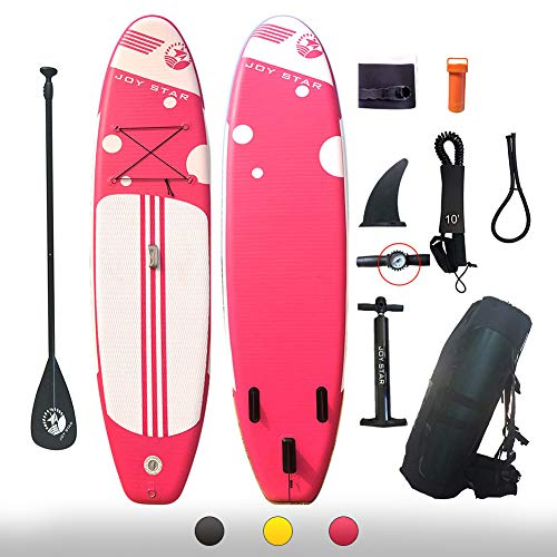 JOY STAR Inflatable Stand Up Paddle Boards 11ft Surf Control with Premium SUP Adjustable Paddle, Waterproof Bag, Leash, Paddle and Hand Pump for Paddling, Surf Control Youth & Adult Standing Boat