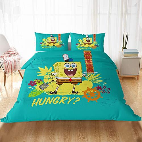 CQLXZ Spongebob-Juego de cama infantil con impresión 3D, diseño de Bob Esponja, funda de edredón, diseño de dibujos animados para niños y niñas (A,135 x 200 cm)