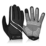 Speecle Full Finger Cycling Gloves - Reinforced Bike Gloves for Men/Women - Breathable Road Mountain Biking Gloves - Touch Screen & Anti-Slip Motorcycle Gloves for Riding, Hiking, Climbing, Gray, XL