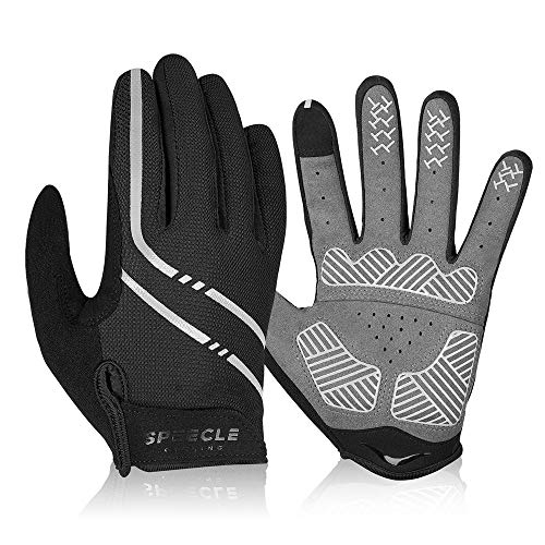 Speecle Full Finger Cycling Gloves - Reinforced Bike Gloves for Men/Women - Breathable Road Mountain Biking Gloves - Touch Screen & Anti-Slip Motorcycle Gloves for Riding, Hiking, Climbing, Gray, L