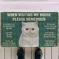 ドアマットカーペット印刷エリアマットハウスルールドアマット3Dトルコのヴァンキャットハウスルールを覚えておいてくださいカスタムドアム子犬マットリビングルームマット屋内屋外ドアマットクリスマスハロウィーン