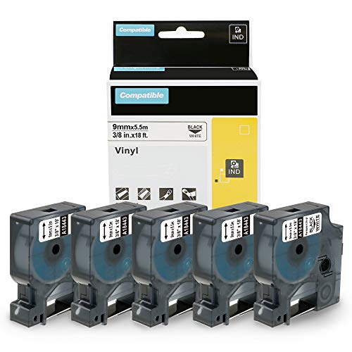 Wonfoucs Compatible Label Tape Replacement for DYMO 18443 Permanent Vinyl Industrial Label Tape for DYMO Label Maker Rhino 5200 4200 6000 5000, 3/8 Inch x 18 Feet, Black on White, 5-Pack