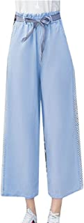 Maweisong Women Loose Palazzo Pants Jean Wide Legs Long Pants Casual High Waist Trousers