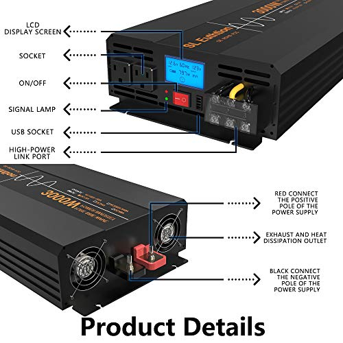 SL Euthtion 3000W Pure Sine Wave Power Inverter 12V DC to 120V AC 60HZ with LCD Display, USB Port, Wireless Remote Control(10M), Solar, Outdoor