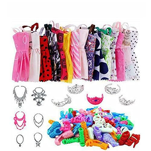 60 piezas accesorios de ropa para muñecas, 20 vestidos + 20 pares de zapatos + 20 piezas de plástico Jewellary Doll Vestidos de regalo para niñas