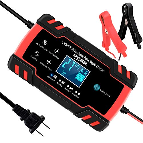 SUHU Car Battery Charger, 12V/8A 24V/4A Smart Automatic Battery Charger Automotive Trickle Charger for Car Truck Motorcycle Lawn Mower Boat Marine RV SUV ATV SLA Wet AGM Gel Cell Lead Acid Battery
