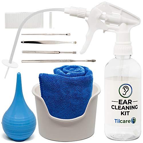Tilcare Kit Limpiador de oídos Profesional – Sistema de lavado de oídos – Kit de limpieza para oídos perfectos – Incluye lavabo, jeringa, kit curetas, toalla y 25 puntas desechables