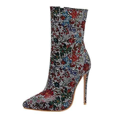 MISSUIT Damen Spitze Stiefeletten High Heels Strass Stiletto Ankle Boots Blumenmuster Klassische Stiefel(Grau,36)
