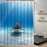 N / A Duschvorhang Muschel Seestern 3D-Druck Wasserdichten Stoff Vorhang, Badezimmerdekoration wasserdicht & schimmelresistent Duschvorhang A9 90x180cm