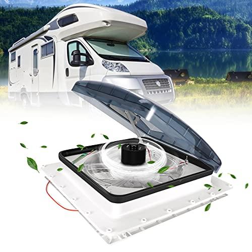 TTLIFE Ventilador de ventilación de techo RV 12V Ventilador de autocaravana Entrada y escape de 3 velocidades - Levantamiento de manivela eléctrico y tapa de humo - Incluye tornillos y guarnición