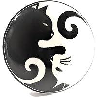 Juego de 6 pomos de cerámica para French Furniture Fittings - pomos de armario de cocina, asas de cajón de muebles - negro y blanco porcelana Yin Yang gatos
