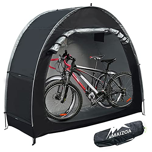 MAIZOA Outdoor Bike Covers Storage Shed Tent,210D Oxford Thick Waterproof Fabric,outdoor aluminum alloy bracket bicycle storage shed, neat tent bicycle cover, storage of 2 bicycles or tricycles(black)