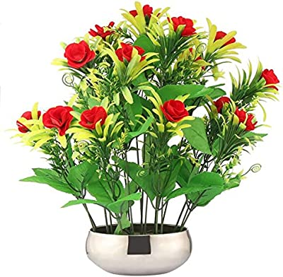 CAAJIB LuckyCharm Real Touch Rose Bunch Artificial Plant with Vase Pot for Home Decor, Height 35 cm, Red & Yellow