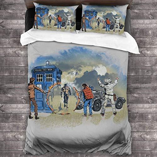 Time Travelers Doctor Who Terminator Back To The Future Juego de cama de 3 piezas, funda de edredón de 86 'x 70', juego de cama decorativo de 3 piezas con 2 fundas de almohada