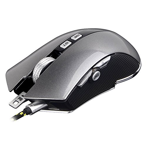 Programmable Gaming Mouse, 9 Customizable Keys, Adjustable Weight, Aluminum Alloy Base, 4 DPI Setting Modes up to 4800 (X8-Gray)