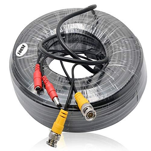 HugeAuto Cable de alimentación de vídeo BNC RCA DC de 100 m para cámara CCTV DVR sistema de seguridad Kit-100 m