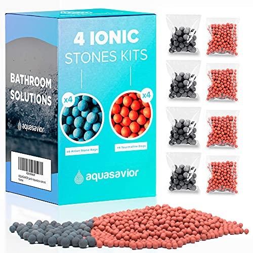 Aquasavior Pack 8 bolsas de bolas minerales iónicas de repuesto, reemplazo de piedras bioactivas de iones negativos para alcachofas de ducha iónicos
