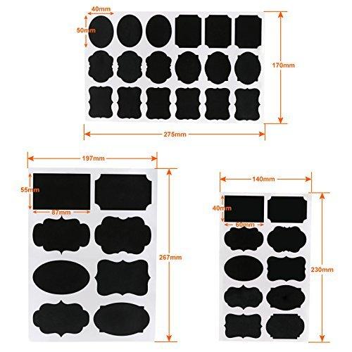 Kesote Etichette di Lavagna - 128 Adesivo Lavagna Riutilizzabile + 2 Marcatore di Gesso Bianco Rimovibile Lavagna Adesiva per Decorare Barattoli, Vino, Dispensa, Casa e Ufficio