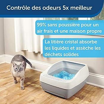 PetSafe - Litière pour Chat Cristal Non-Agglomérante Bleue Haut De Gamme Scoopfree, en gel de silice, 99% moins de poussière, absorbe le liquide et déssèche les excréments, Lot de 2 sachets