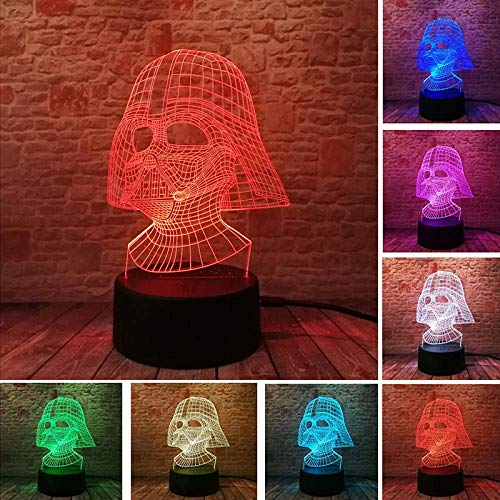 3D Slide Light LED Night Light Star Wars Darth - Vader mask Model Luminous 7 Transformation Lights Colorful Black K Action Figures and Toys, Children's Birthday or Christmas Gift