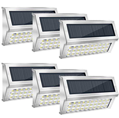 Onshida Solarleuchte für Außen, 30 LED Garten Wegeleuchte Wandleuchten mit Lichtsensor, Wasserdichte Kabellose Sicherheitslicht Solarlampe für Treppe, Zaun, Dachrinnen, Balkon, Terrasse (6 Pack)