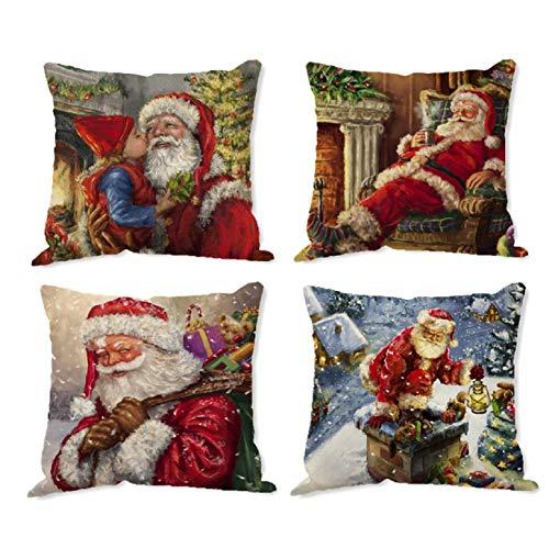 UMIPUBO Set of 4 Christmas Pillow Cover Cushion Cover Cotton Decorative Pillowcases Christmas Snowflake Sofa Cushion Cover for Car Bedroom Home Decor (K)
