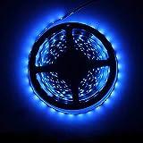 Water-Resistance IP65, 12V Waterproof Flexible LED Strip Light, 16.4ft/5m Cuttable LED Light Strips, 300 Units 2835 LEDs Lighting String, LED Tape (Blue, No Power Adapter/Plug)