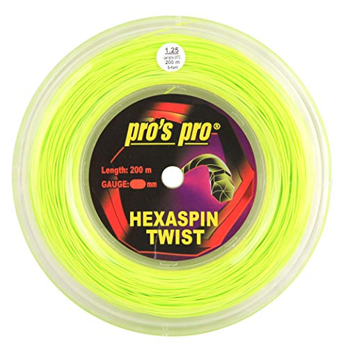 Spro Pro's PRO Hexaspin Twist Corda per Racchetta da Tennis - 200m Bobina - 1.25mm - Lime