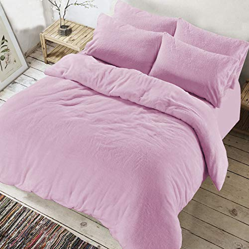AR Textile Soft Teddy Bear Fleece Duvet cover with Pillowcases, Thermal Warm Fleece Bedding Set in single double king superking (Pink, Double)